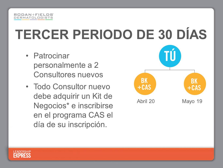 TERCER PERIODO DE 30 DÍAS Patrocinar personalmente a 2 Consultores nuevos Todo Consultor nuevo debe adquirir un Kit de Negocios* e inscribirse en el p
