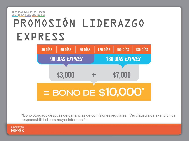 PROMOSIÓN LIDERAZGO EXPRESS 90 Das 150 Días *Bono otorgado después de ganancias de comisiones regulares. Ver cláusula de exención de responsabilidad p