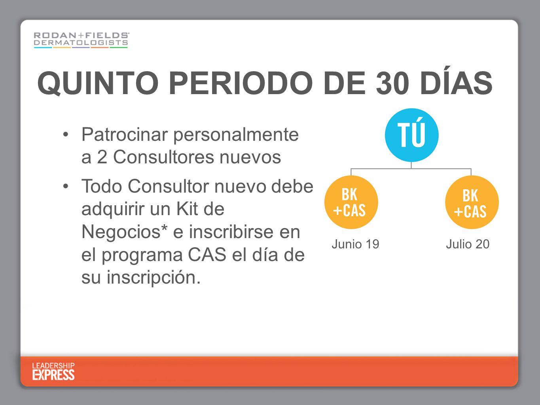 QUINTO PERIODO DE 30 DÍAS Patrocinar personalmente a 2 Consultores nuevos Todo Consultor nuevo debe adquirir un Kit de Negocios* e inscribirse en el programa CAS el día de su inscripción.