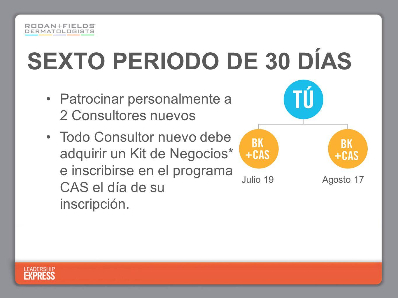 SEXTO PERIODO DE 30 DÍAS Patrocinar personalmente a 2 Consultores nuevos Todo Consultor nuevo debe adquirir un Kit de Negocios* e inscribirse en el programa CAS el día de su inscripción.