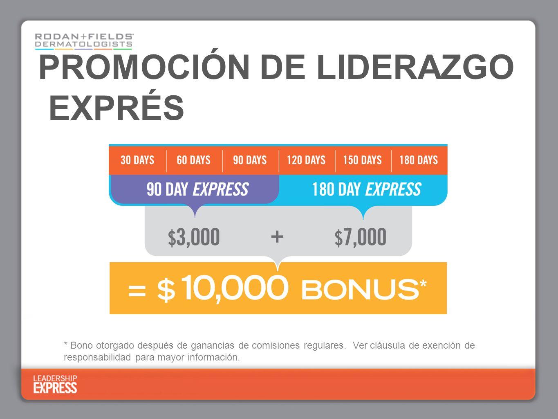 PROMOCIÓN DE LIDERAZGO EXPRÉS * Bono otorgado después de ganancias de comisiones regulares.