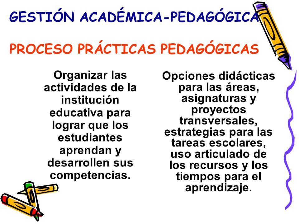 GESTIÓN ACADÉMICA-PEDAGÓGICA PROCESO PRÁCTICAS PEDAGÓGICAS Organizar las actividades de la institución educativa para lograr que los estudiantes aprendan y desarrollen sus competencias.