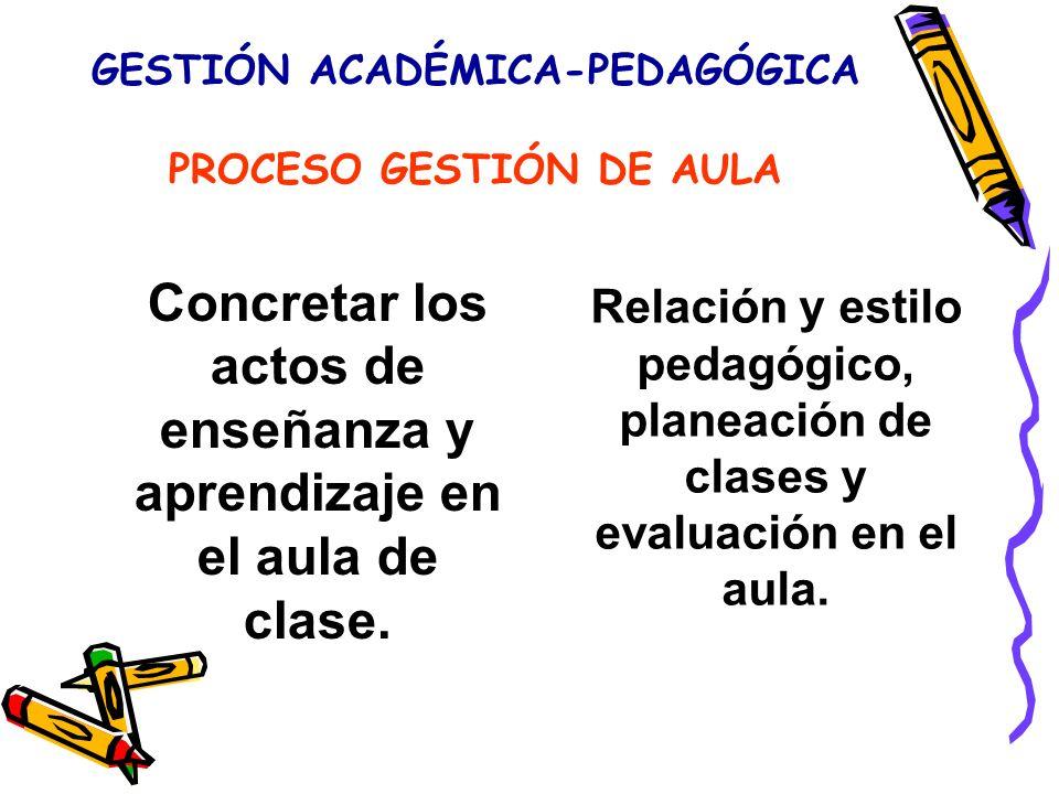 GESTIÓN ACADÉMICA-PEDAGÓGICA PROCESO GESTIÓN DE AULA Concretar los actos de enseñanza y aprendizaje en el aula de clase.