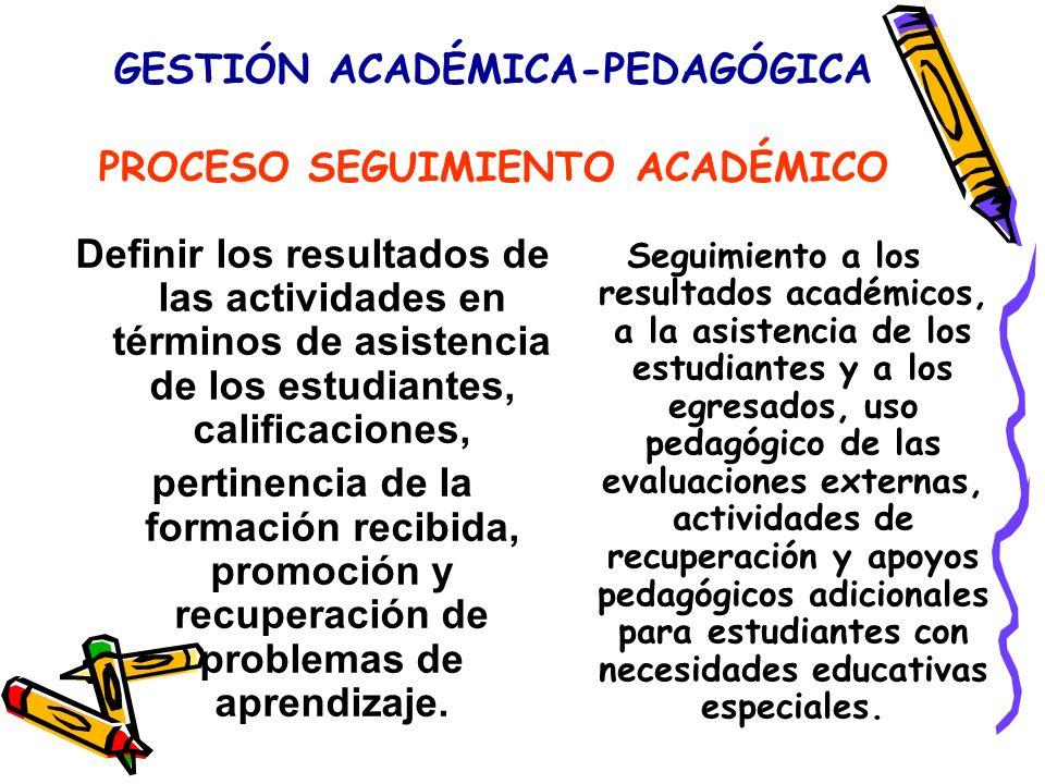 GESTIÓN ACADÉMICA-PEDAGÓGICA PROCESO SEGUIMIENTO ACADÉMICO Definir los resultados de las actividades en términos de asistencia de los estudiantes, calificaciones, pertinencia de la formación recibida, promoción y recuperación de problemas de aprendizaje.