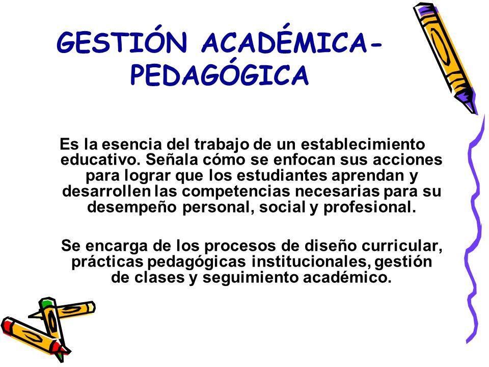 GESTIÓN ACADÉMICA- PEDAGÓGICA Es la esencia del trabajo de un establecimiento educativo.
