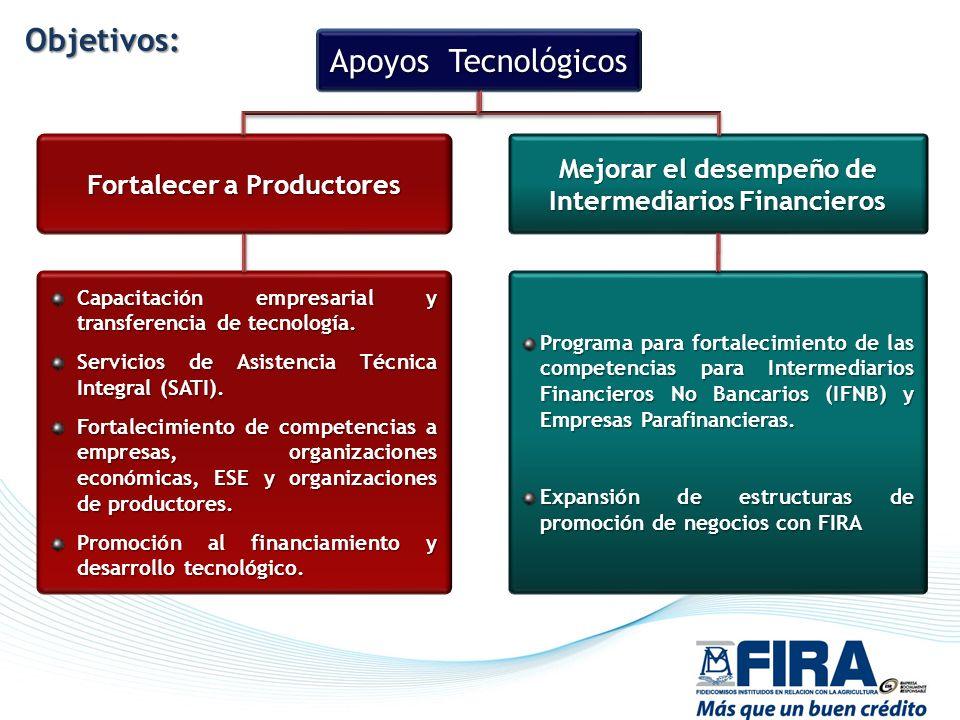 Apoyos Tecnológicos Fortalecer a Productores Mejorar el desempeño de Intermediarios Financieros Capacitación empresarial y transferencia de tecnología