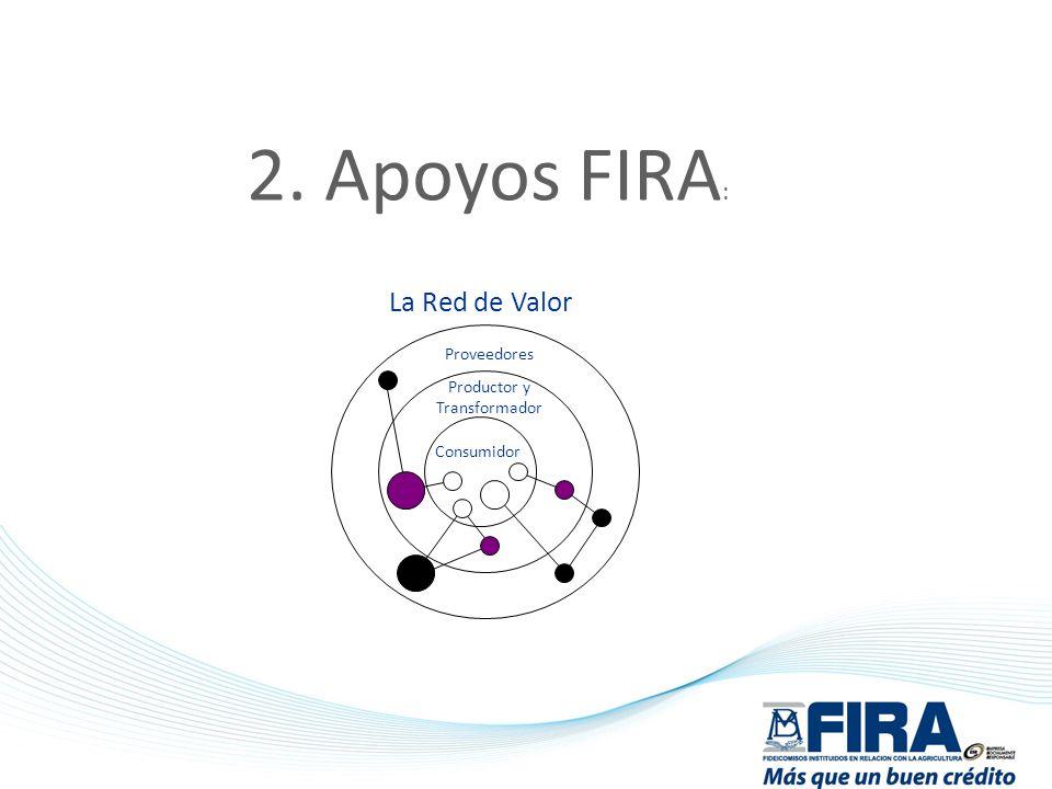 2. Apoyos FIRA : Consumidor Productor y Transformador Proveedores La Red de Valor
