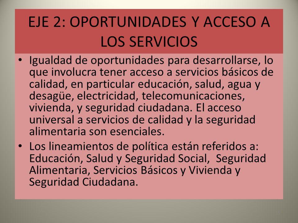 EJE 2: OPORTUNIDADES Y ACCESO A LOS SERVICIOS Igualdad de oportunidades para desarrollarse, lo que involucra tener acceso a servicios básicos de calid