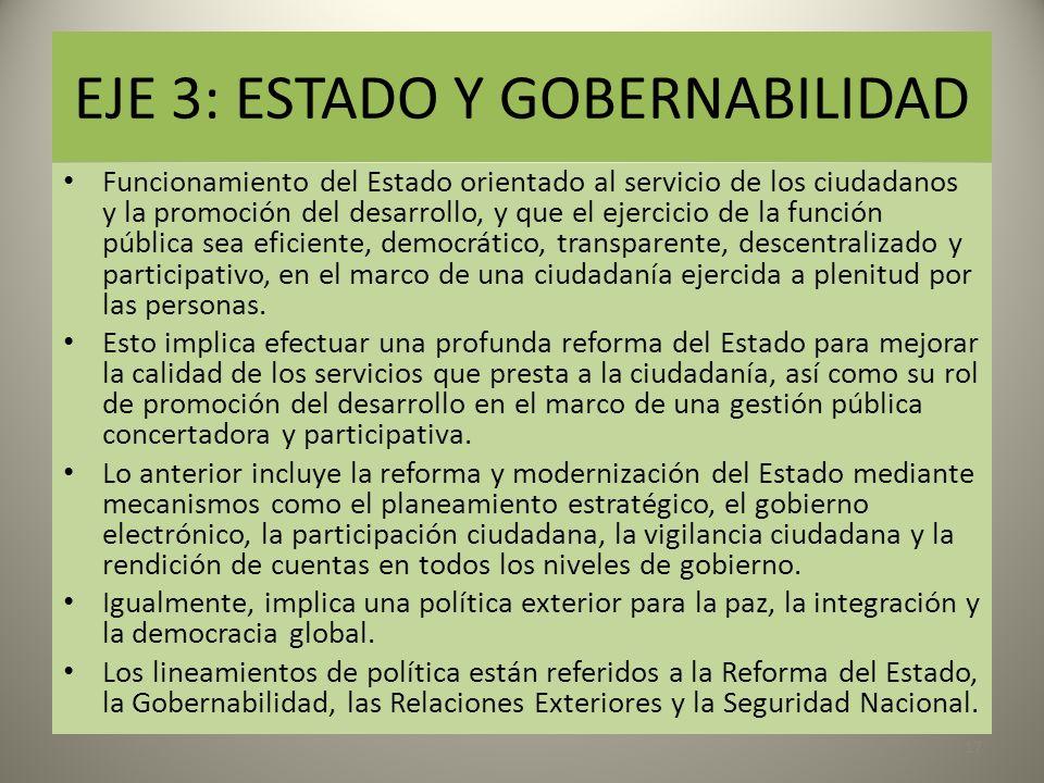 EJE 3: ESTADO Y GOBERNABILIDAD Funcionamiento del Estado orientado al servicio de los ciudadanos y la promoción del desarrollo, y que el ejercicio de