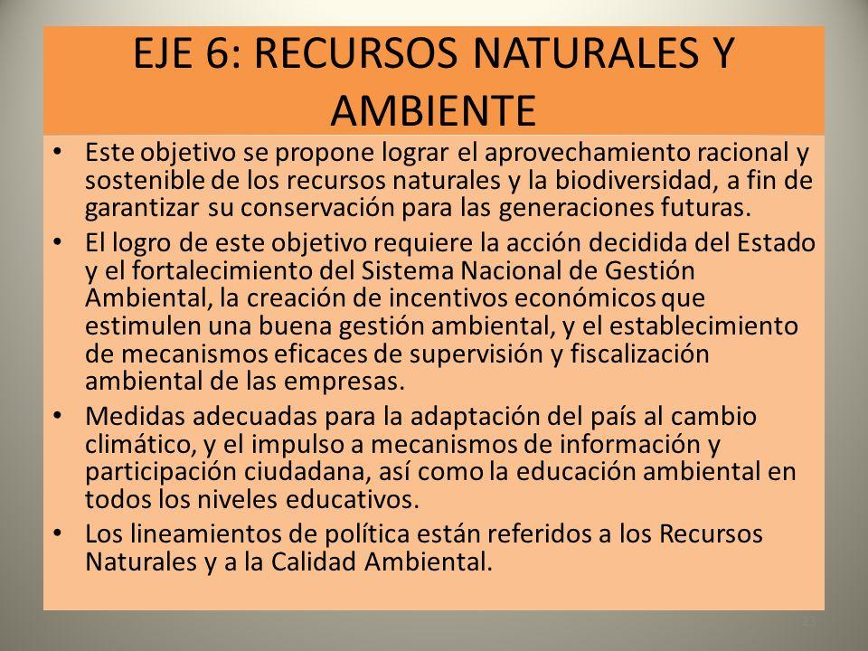 EJE 6: RECURSOS NATURALES Y AMBIENTE Este objetivo se propone lograr el aprovechamiento racional y sostenible de los recursos naturales y la biodivers