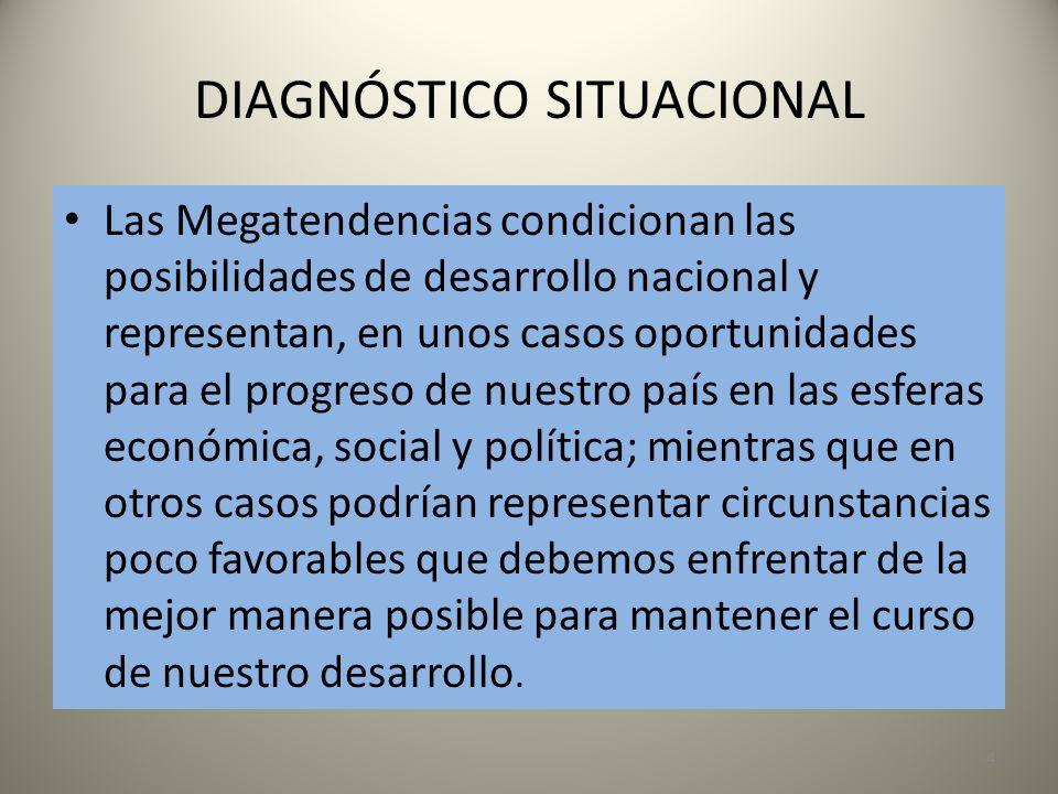 DIAGNÓSTICO SITUACIONAL 4 Las Megatendencias condicionan las posibilidades de desarrollo nacional y representan, en unos casos oportunidades para el p
