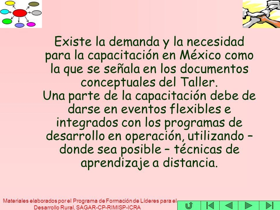 Materiales elaborados por el Programa de Formación de Líderes para el Desarrollo Rural, SAGAR-CP-RIMISP-ICRA Existe la demanda y la necesidad para la capacitación en México como la que se señala en los documentos conceptuales del Taller.