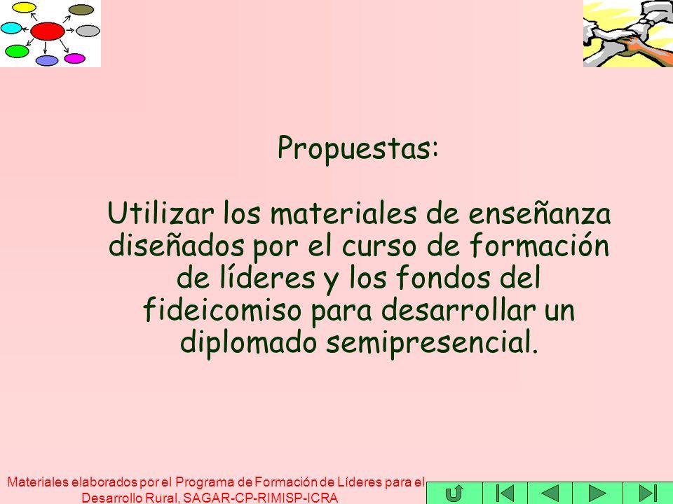 Materiales elaborados por el Programa de Formación de Líderes para el Desarrollo Rural, SAGAR-CP-RIMISP-ICRA Propuestas: Utilizar los materiales de en