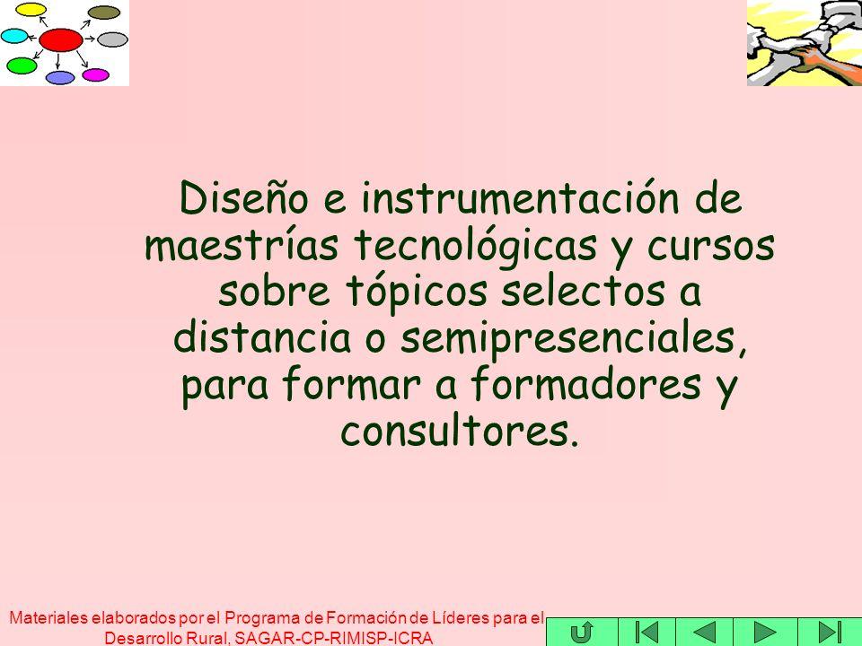 Materiales elaborados por el Programa de Formación de Líderes para el Desarrollo Rural, SAGAR-CP-RIMISP-ICRA Diseño e instrumentación de maestrías tec