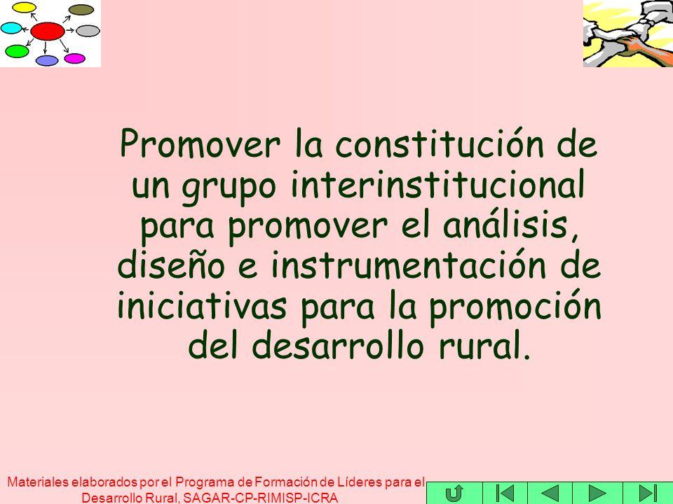 Materiales elaborados por el Programa de Formación de Líderes para el Desarrollo Rural, SAGAR-CP-RIMISP-ICRA Promover la constitución de un grupo interinstitucional para promover el análisis, diseño e instrumentación de iniciativas para la promoción del desarrollo rural.