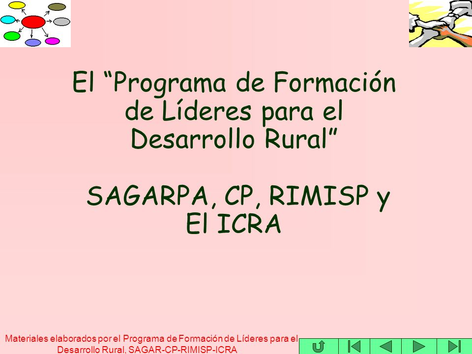 Materiales elaborados por el Programa de Formación de Líderes para el Desarrollo Rural, SAGAR-CP-RIMISP-ICRA El Programa de Formación de Líderes para el Desarrollo Rural SAGARPA, CP, RIMISP y El ICRA