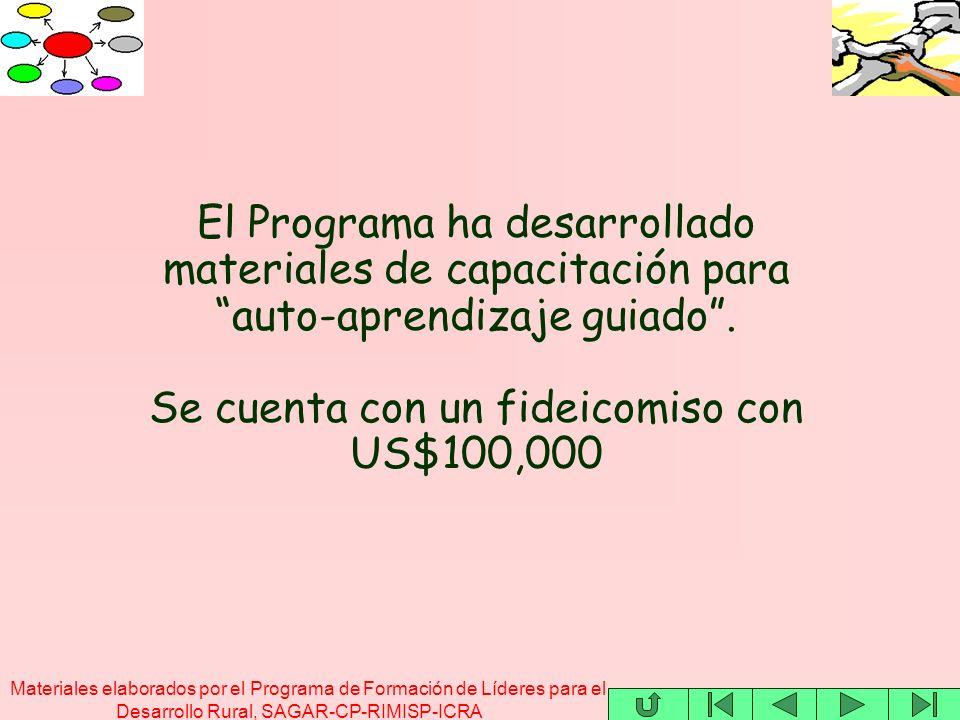Materiales elaborados por el Programa de Formación de Líderes para el Desarrollo Rural, SAGAR-CP-RIMISP-ICRA El Programa ha desarrollado materiales de capacitación para auto-aprendizaje guiado.