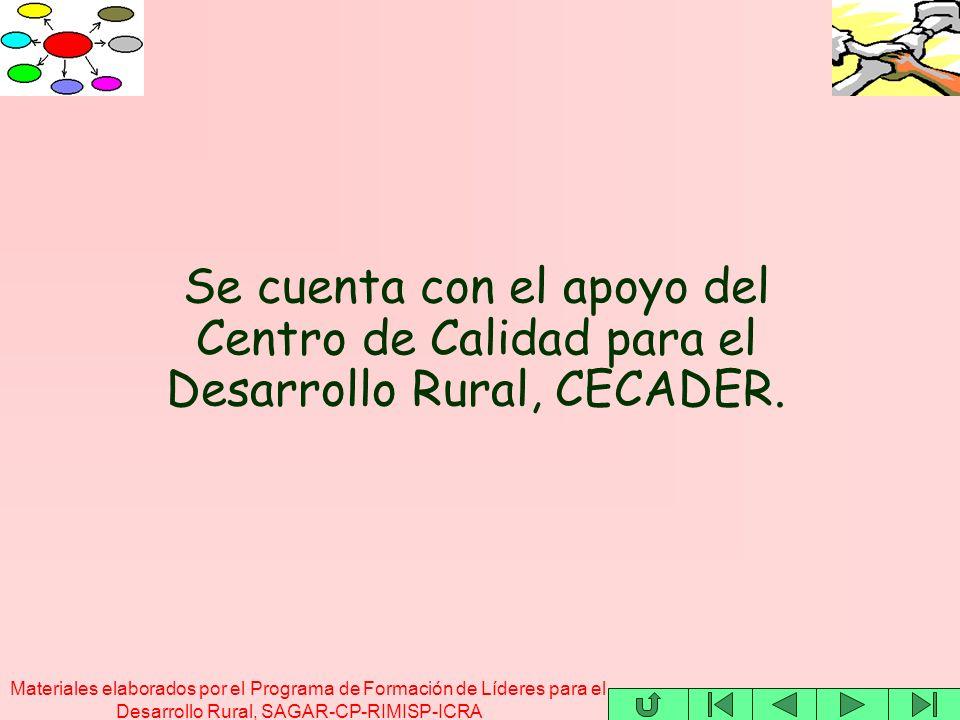 Materiales elaborados por el Programa de Formación de Líderes para el Desarrollo Rural, SAGAR-CP-RIMISP-ICRA Se cuenta con el apoyo del Centro de Calidad para el Desarrollo Rural, CECADER.
