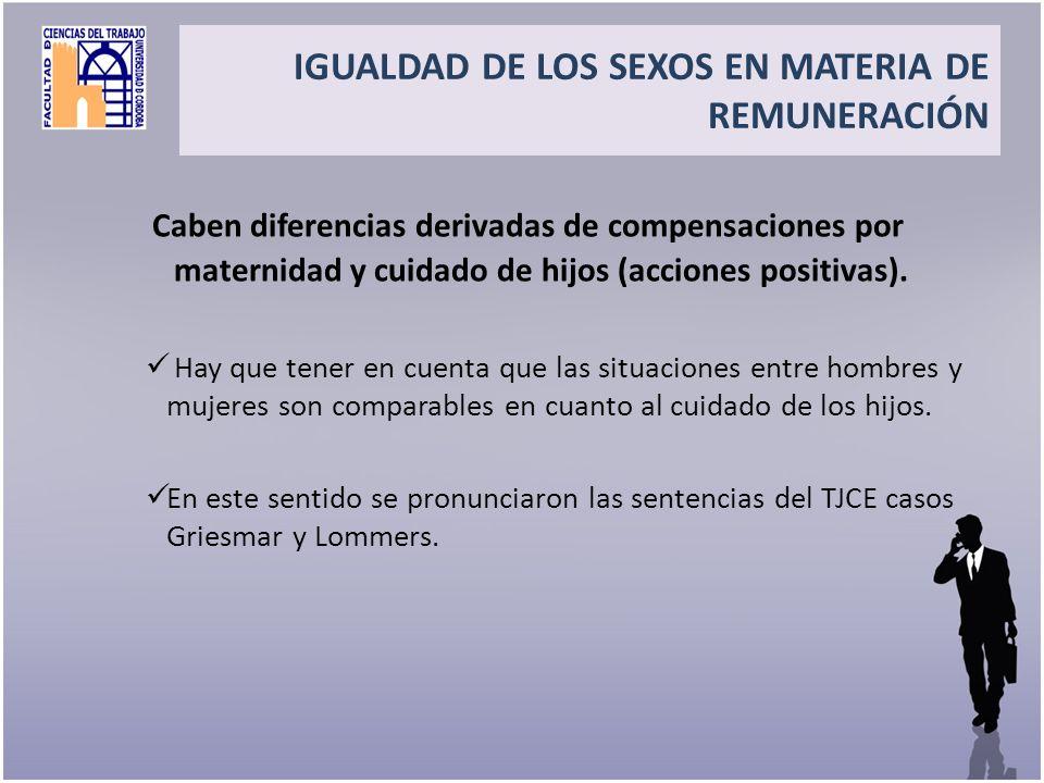 Title Caben diferencias derivadas de compensaciones por maternidad y cuidado de hijos (acciones positivas). Hay que tener en cuenta que las situacione