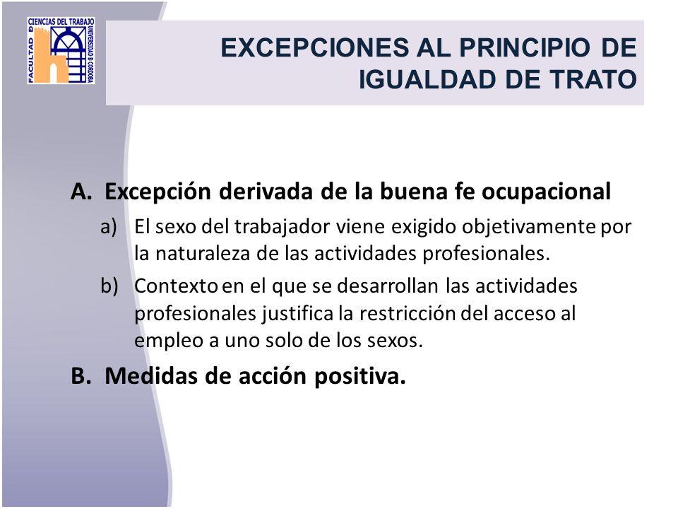 EXCEPCIONES AL PRINCIPIO DE IGUALDAD DE TRATO A.Excepción derivada de la buena fe ocupacional a)El sexo del trabajador viene exigido objetivamente por