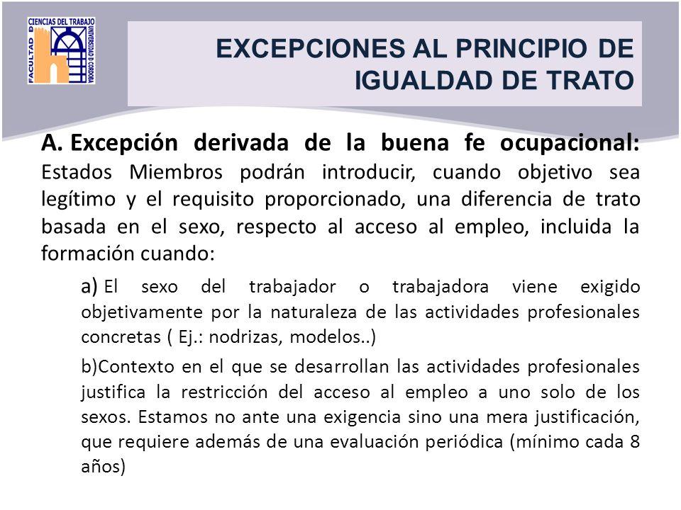 Title A. Excepción derivada de la buena fe ocupacional: Estados Miembros podrán introducir, cuando objetivo sea legítimo y el requisito proporcionado,