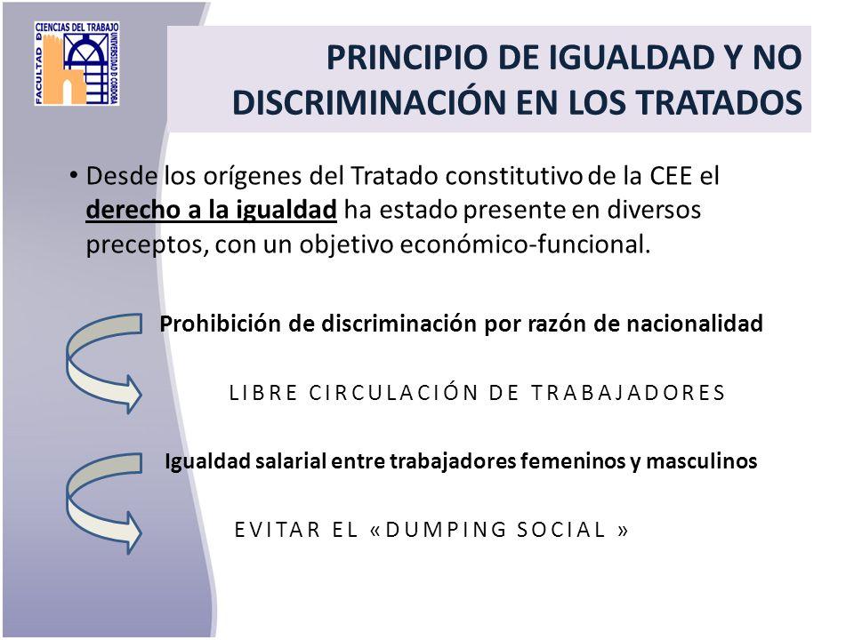 PRINCIPIO DE IGUALDAD Y NO DISCRIMINACIÓN EN LOS TRATADOS Desde los orígenes del Tratado constitutivo de la CEE el derecho a la igualdad ha estado pre