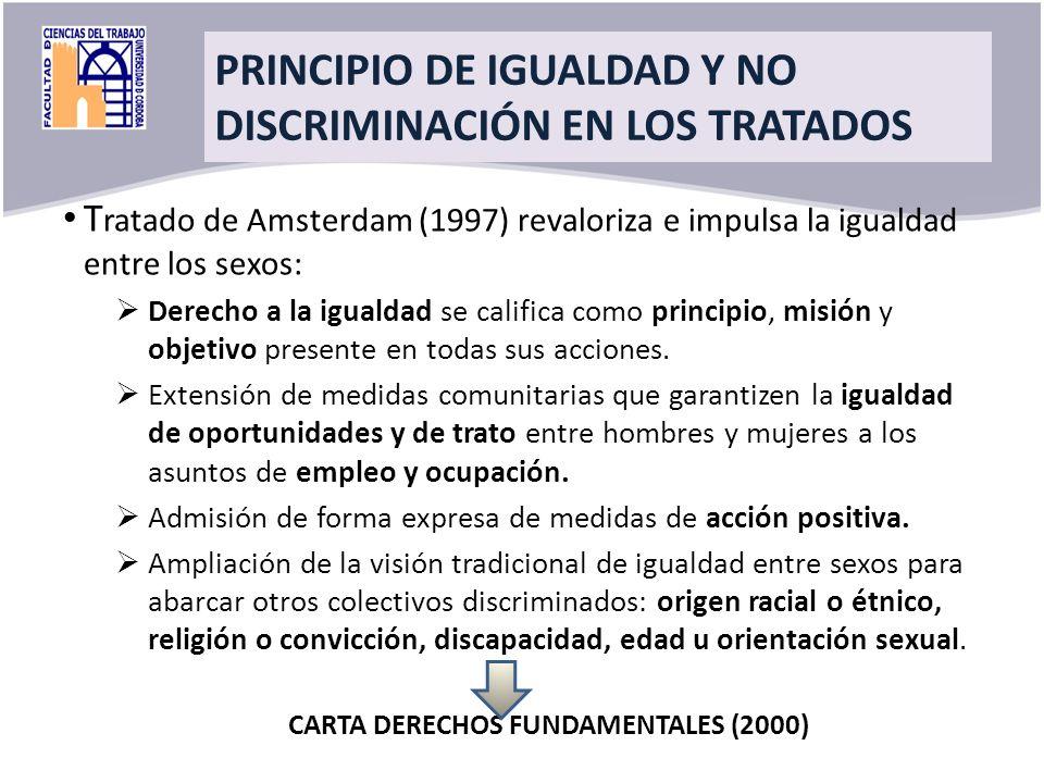 Title T ratado de Amsterdam (1997) revaloriza e impulsa la igualdad entre los sexos: Derecho a la igualdad se califica como principio, misión y objeti