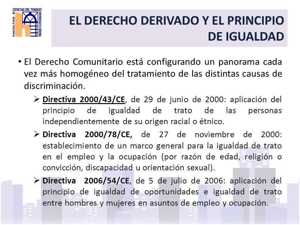 Elemento común en dichas Directivas son el concepto de: Discriminación directa: tratamiento menos favorable de una persona por alguna de las razones referidas (edad, sexo…) con respecto a otra en situación comparable.