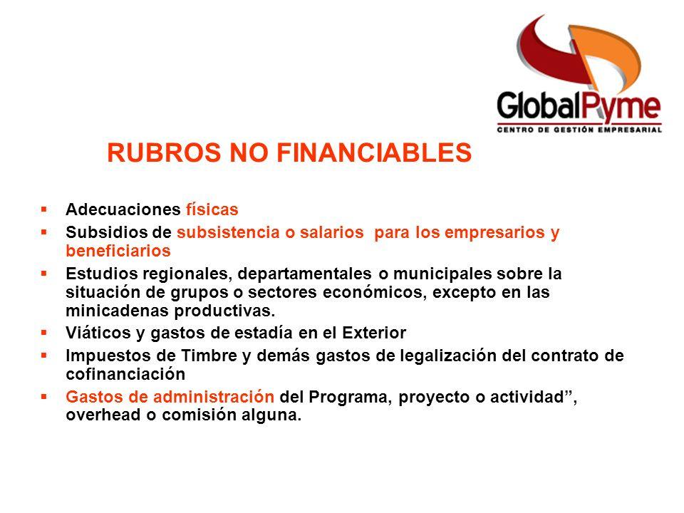 RUBROS NO FINANCIABLES Adecuaciones físicas Subsidios de subsistencia o salarios para los empresarios y beneficiarios Estudios regionales, departament