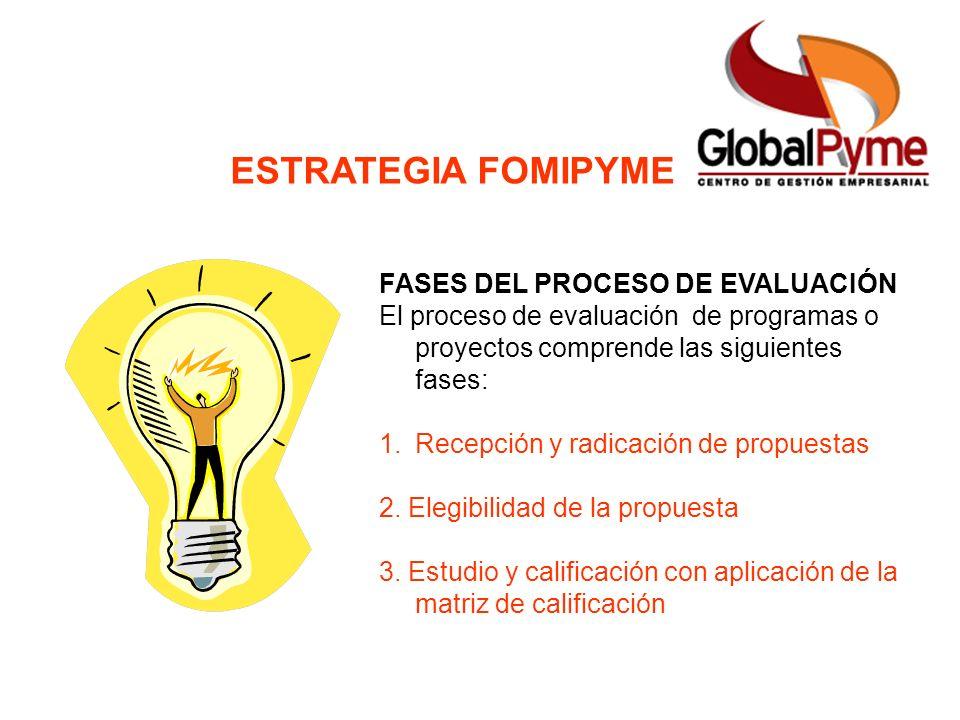 ESTRATEGIA FOMIPYME FASES DEL PROCESO DE EVALUACIÓN El proceso de evaluación de programas o proyectos comprende las siguientes fases: 1.Recepción y ra