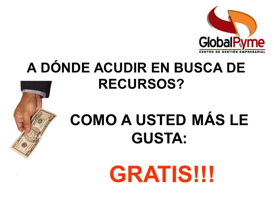 A DÓNDE ACUDIR EN BUSCA DE RECURSOS? COMO A USTED MÁS LE GUSTA: GRATIS!!!