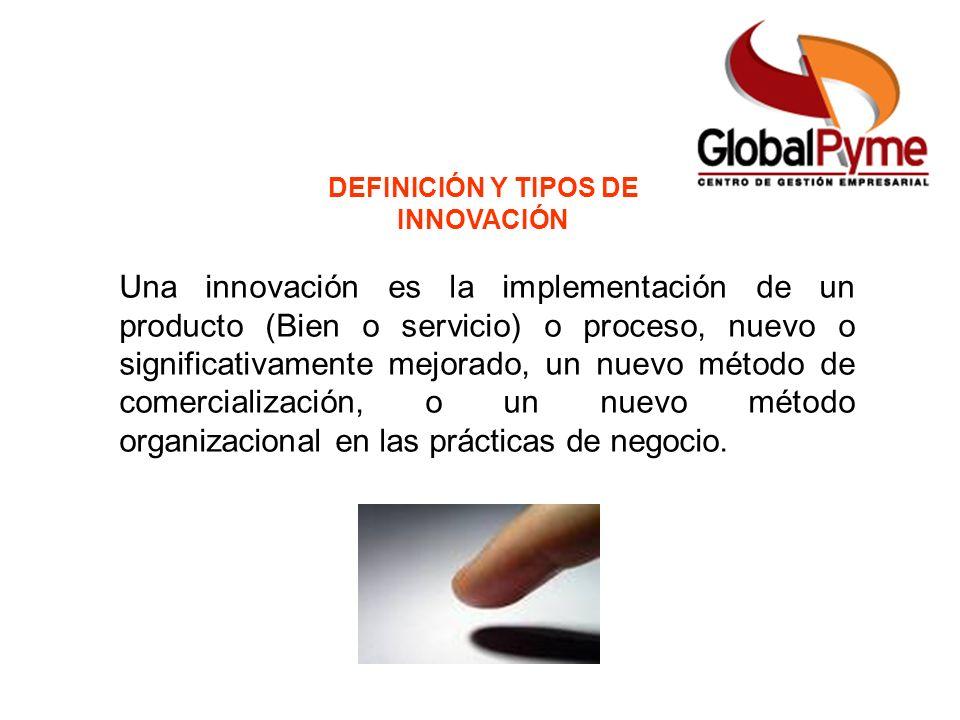 DEFINICIÓN Y TIPOS DE INNOVACIÓN Una innovación es la implementación de un producto (Bien o servicio) o proceso, nuevo o significativamente mejorado,