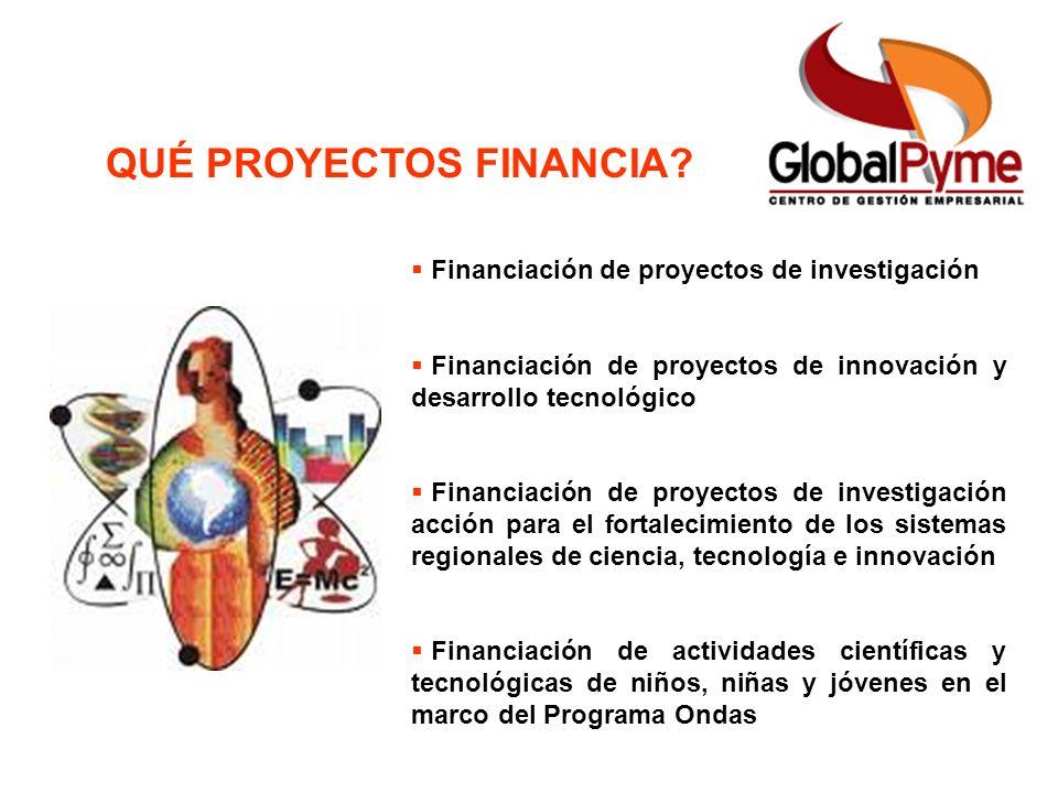 QUÉ PROYECTOS FINANCIA? Financiación de proyectos de investigación Financiación de proyectos de innovación y desarrollo tecnológico Financiación de pr