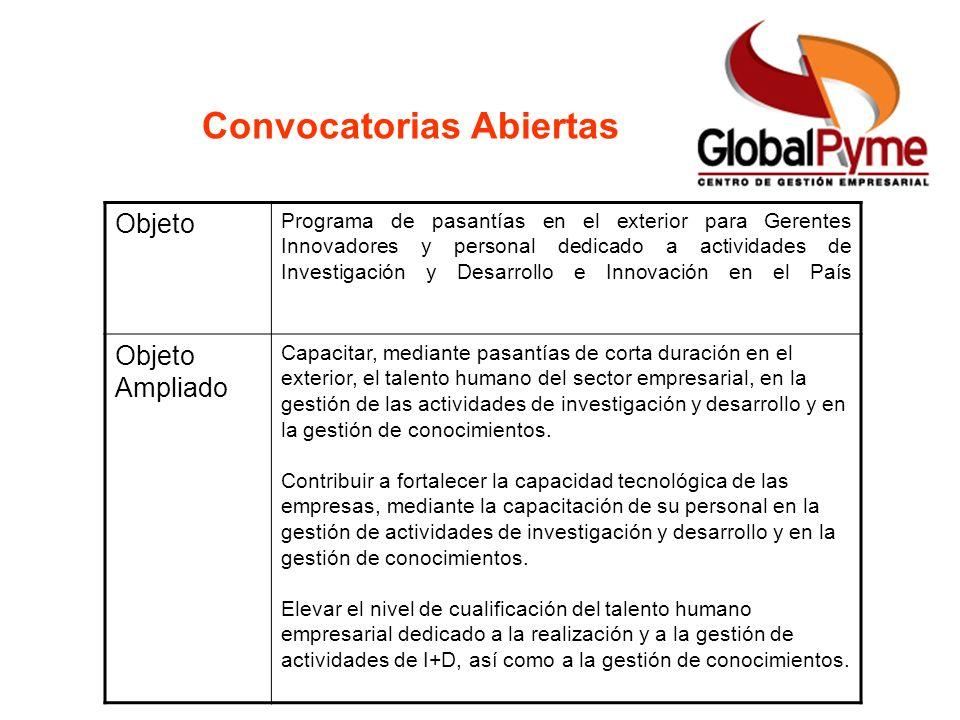 Convocatorias Abiertas Objeto Programa de pasantías en el exterior para Gerentes Innovadores y personal dedicado a actividades de Investigación y Desa