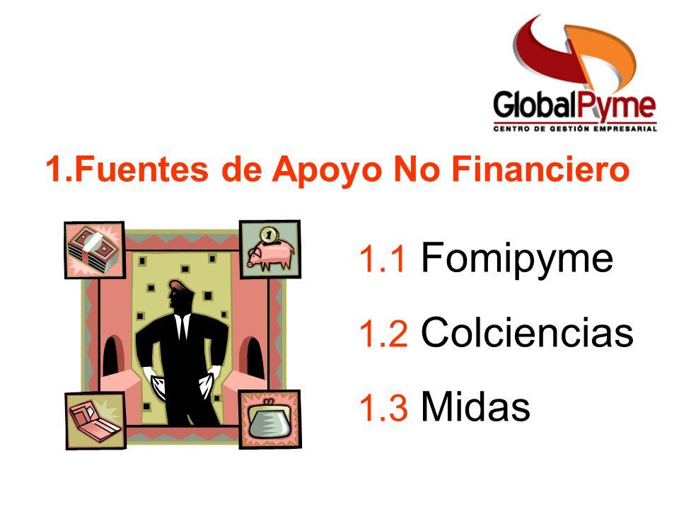 1.Fuentes de Apoyo No Financiero 1.1 Fomipyme 1.2 Colciencias 1.3 Midas