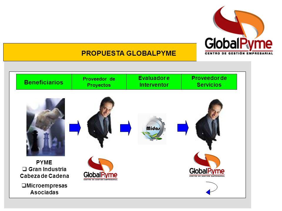 PROPUESTA GLOBALPYME Beneficiarios Proveedor de Proyectos Evaluador e Interventor Proveedor de Servicios PYME Gran Industria Cabeza de Cadena Microempresas Asociadas