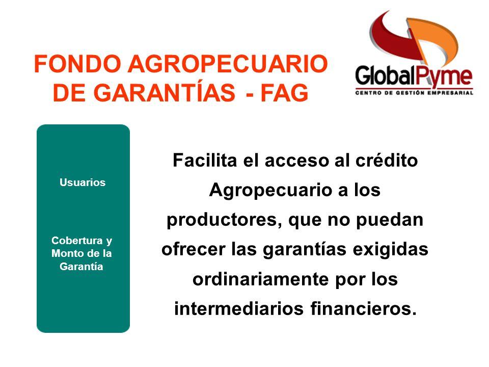 Pequeño Productor Mujer Rural Pequeño Productor alianza Otro Productor FAG ICR FONDO AGROPECUARIO DE GARANTÍAS - FAG Usuarios Cobertura y Monto de la