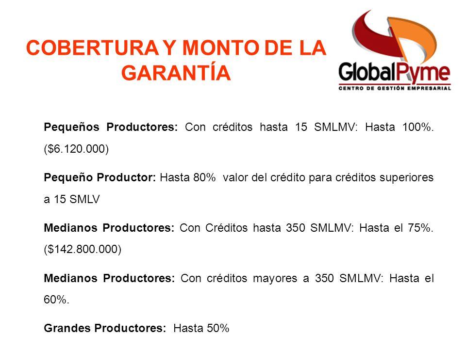 Pequeño Productor Mujer Rural Pequeño Productor alianza Otro Productor FAG ICR Usuarios Cobertura y Monto de la Garantía COBERTURA Y MONTO DE LA GARAN