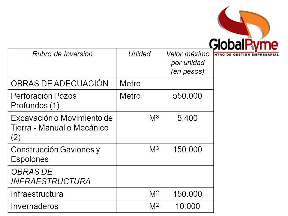 Rubro de InversiónUnidadValor máximo por unidad (en pesos) OBRAS DE ADECUACIÓNMetro Perforación Pozos Profundos (1) Metro550.000 Excavación o Movimiento de Tierra - Manual o Mecánico (2) M3M3 5.400 Construcción Gaviones y Espolones M3M3 150.000 OBRAS DE INFRAESTRUCTURA InfraestructuraM2M2 150.000 InvernaderosM2M2 10.000