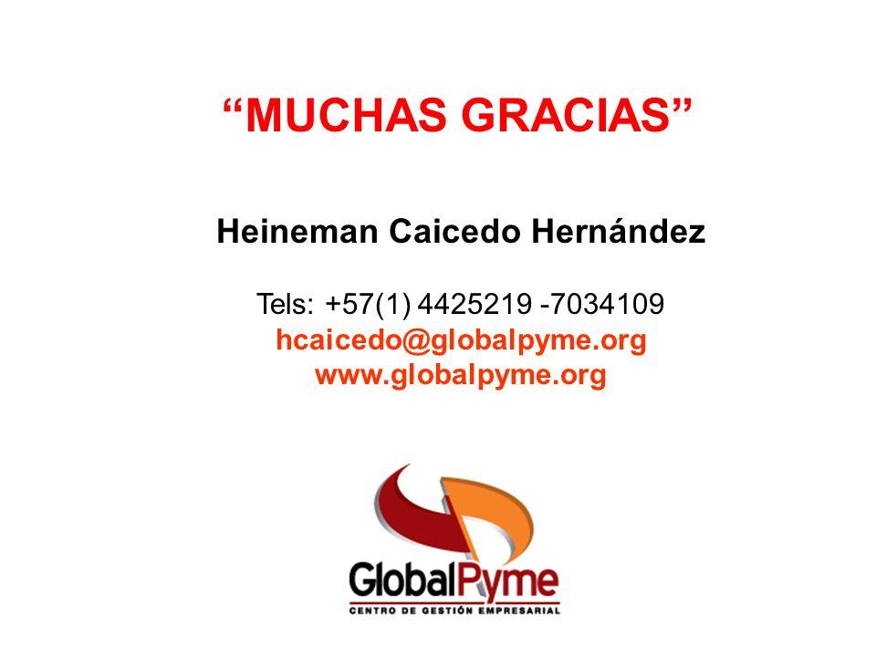 MUCHAS GRACIAS Heineman Caicedo Hernández Tels: +57(1) 4425219 -7034109 hcaicedo@globalpyme.org www.globalpyme.org
