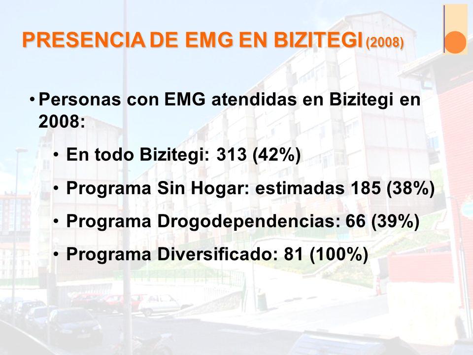 PRESENCIA DE EMG EN BIZITEGI (2008) Personas con EMG atendidas en Bizitegi en 2008: En todo Bizitegi: 313 (42%) Programa Sin Hogar: estimadas 185 (38%