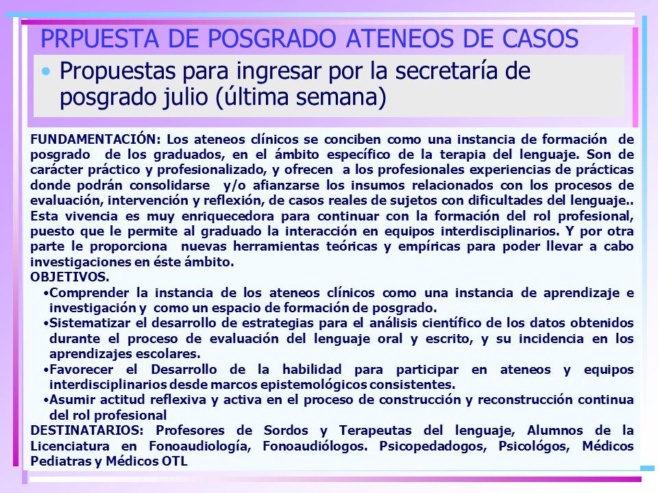CAPACITACIÓN DE POSGRADO: Propuesta Nº1 FECHA DE PRESENTACIÓN LUEGO DEL RECESO INVERNAL ( ÚLTIMA SEMANA DE JULIO 2009) CURSILLO DE POSGRADO- Capacitación: ACÚSTICA DEL HABLA Responsable: Doctora en Fonoaudiología Ana Gloria Ortega Fecha: a confirmarse durante el segundo cuatrimestre del año lectivo 2009 Lugar: Facultad de Educación Elemental y Especial Organiza: Instituto de Logopedia- FEEyE Duración: 40 horas-Presenciales: 20 horas – 5 encuentos de 4 horas fechas a convenir.