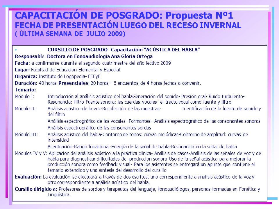 FACULTAD DE EDUCACIÓN ELEMENTAL Y ESPECIAL-INSTITUTO DE LOGOPEDIA CURSO: ABORDAJE CLÍNICO DE LA PATOLOGÍA DE VOZ-ACTUALIZACIONES EN DIAGNÓSTICO Y TERAPIA- ANÁLISIS DE CASOS CLÍNICOS Profesionales dictantes: Dr.