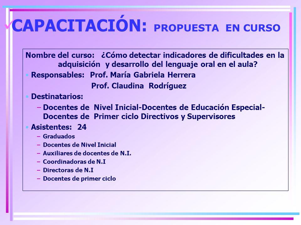 CAPACITACIÓN: Propuesta APROBADA INSCRIPCIÓN : JULIO AGOSTO Curso: Curso introducción a la metodología de investigación: una mirada aplicada y práctica A.