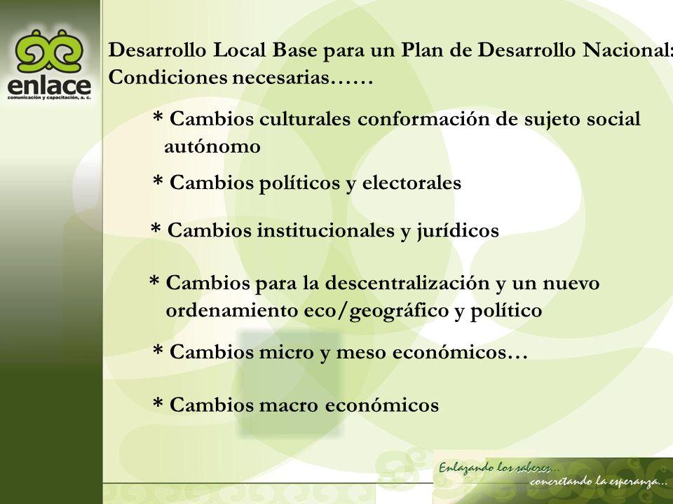 Desarrollo Local Base para un Plan de Desarrollo Nacional: Condiciones necesarias…… * Cambios culturales conformación de sujeto social autónomo * Camb