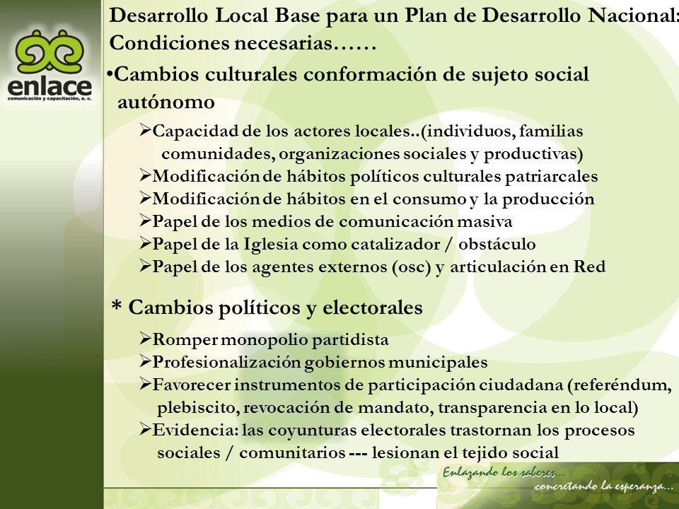 Desarrollo Local Base para un Plan de Desarrollo Nacional: Condiciones necesarias…… Cambios culturales conformación de sujeto social autónomo Capacida
