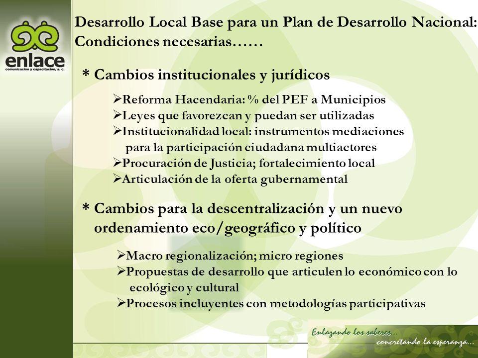 Desarrollo Local Base para un Plan de Desarrollo Nacional: Condiciones necesarias…… * Cambios institucionales y jurídicos Reforma Hacendaria: % del PE