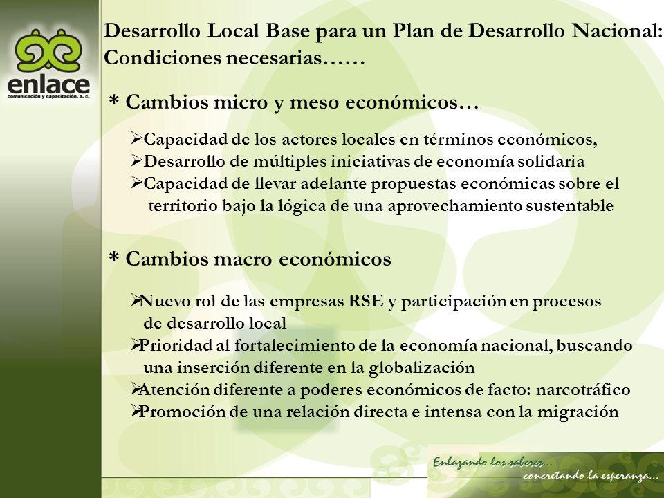 Desarrollo Local Base para un Plan de Desarrollo Nacional: Condiciones necesarias…… * Cambios micro y meso económicos… Capacidad de los actores locale
