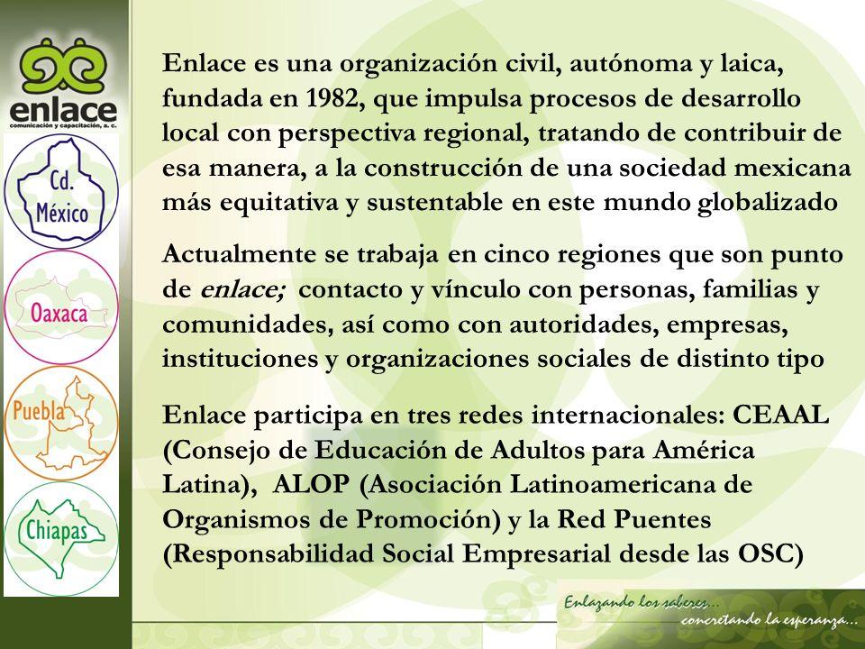 Actualmente se trabaja en cinco regiones que son punto de enlace; contacto y vínculo con personas, familias y comunidades, así como con autoridades, e