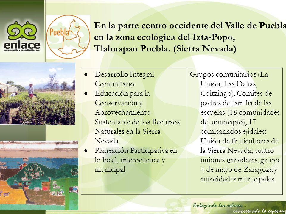 En la parte centro occidente del Valle de Puebla, en la zona ecológica del Izta-Popo, Tlahuapan Puebla. (Sierra Nevada) Desarrollo Integral Comunitari